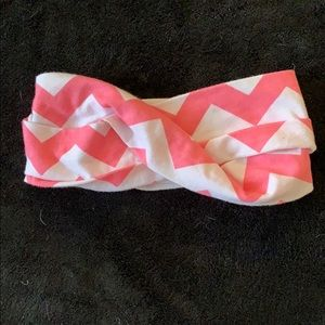 Other - Pink and white chevron toddler headband